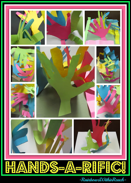 photo of: Elementary Art project with hand tracings