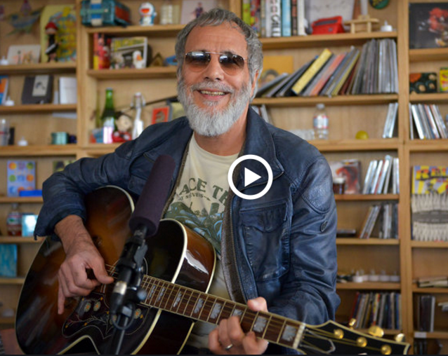 "Yusuf Islam doing an NPR ""tiny desk concert"""
