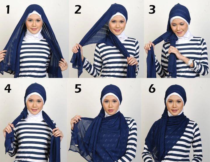 Gambar Cara Memakai Jilbab Segi Panjang 2012