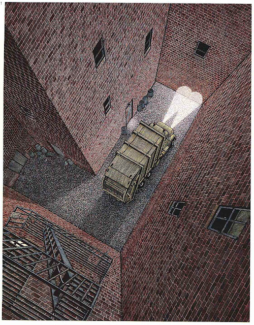 Douglas Smith illustration 1980s garbage truck problems
