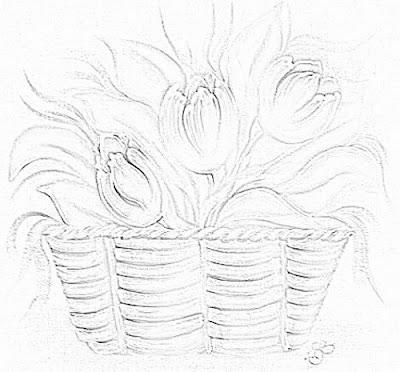 pintura em tecido cesta tulipa risco
