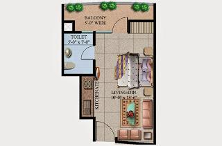 Ecociti :: Floor Plans,Super Area: 455 Sq. Ft.