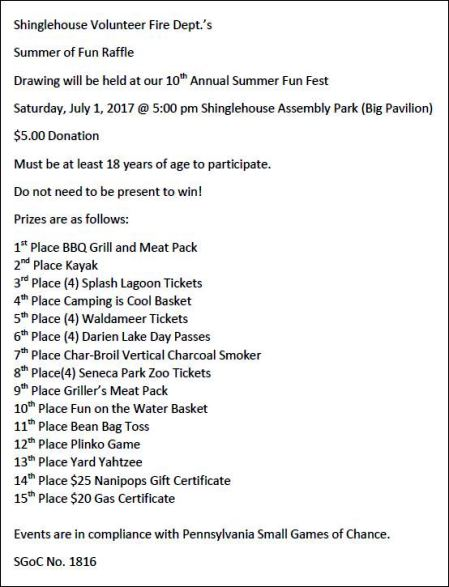 Get Your Tickets Till 7-1 Summer Fun Raffle