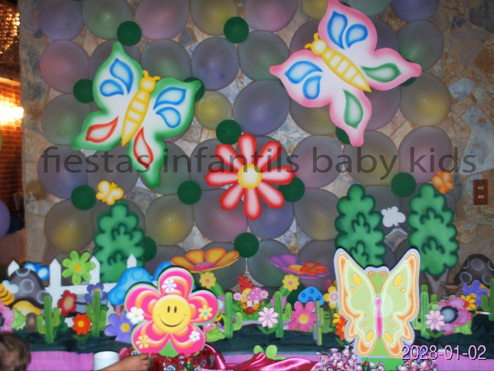 Fiestas infantiles baby kids decoracion de mariposa jardin for Decoracion de pared para fiestas infantiles