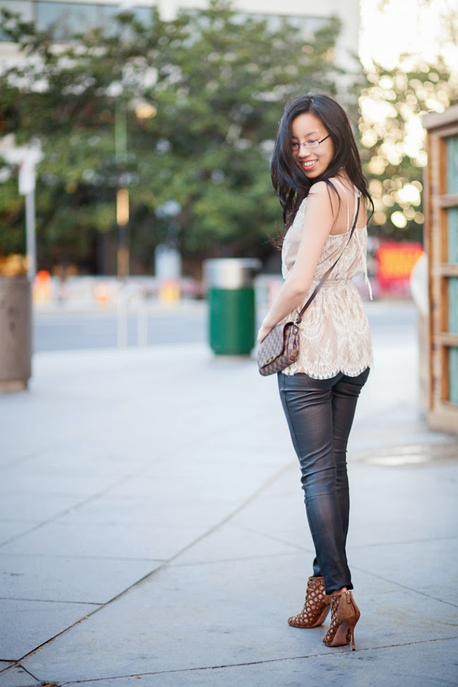 leather pants outfit idea trend