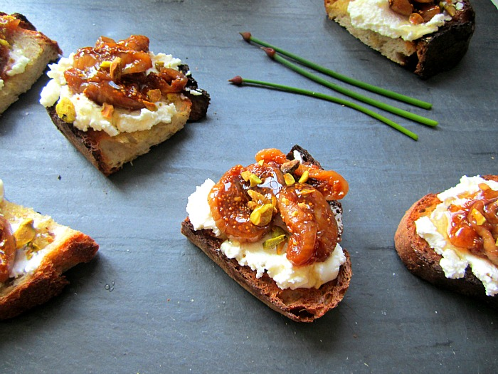 Stacey Snacks: Tartines w/ Pickled FIGS, Ricotta & Pistachios
