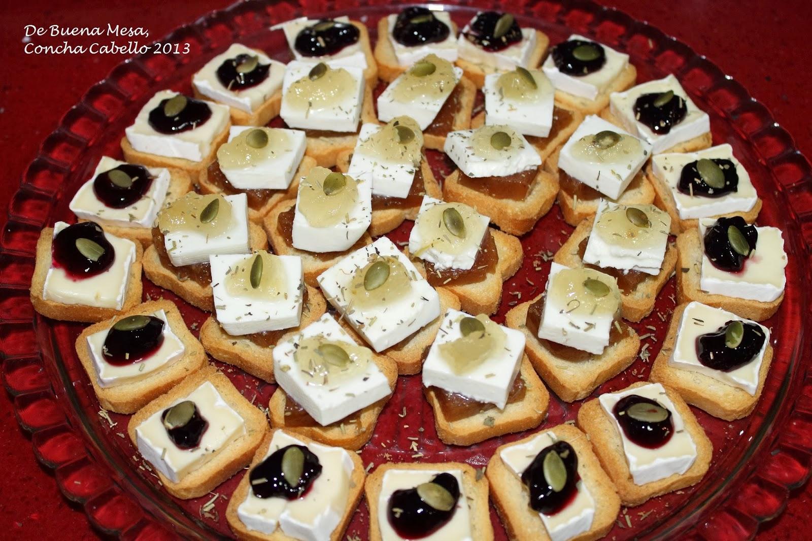 Canap s de queso fresco de cabra y queso brie for Canape queso de cabra