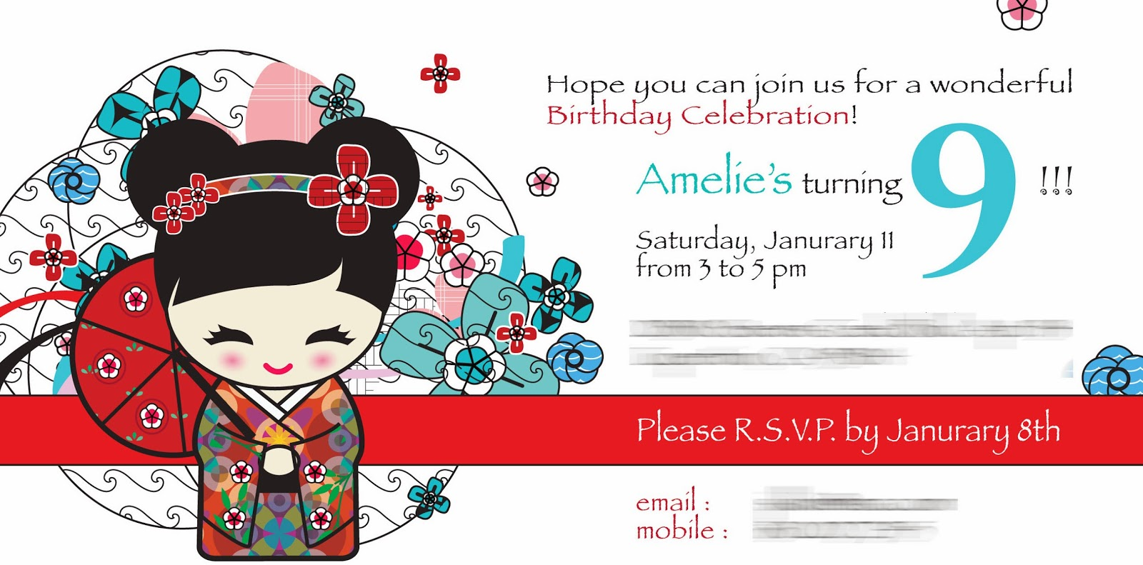 Julias Bento Kokeshi Doll Party Part I Preparation for 9th – Japanese Birthday Invitations