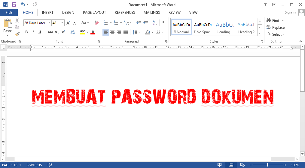 Memberikan Password Dokumen Microsoft Office Word 1