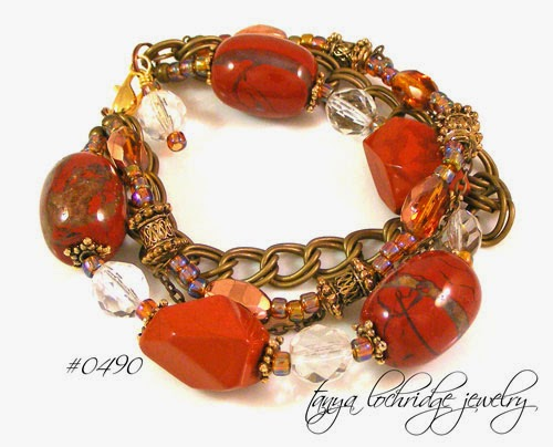 Red Jasper, Czech Glass Vintage Bead Bracelet