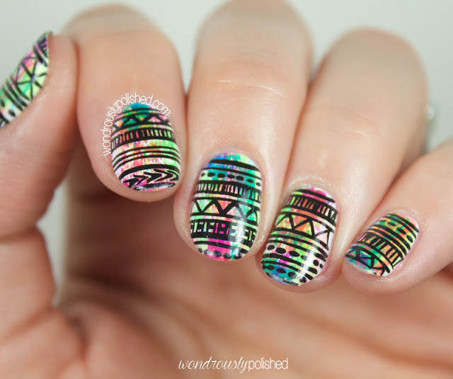 neon tribal print nail art