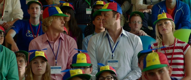 Owen Wilson and Vince Vaughn wearing Noogle hats