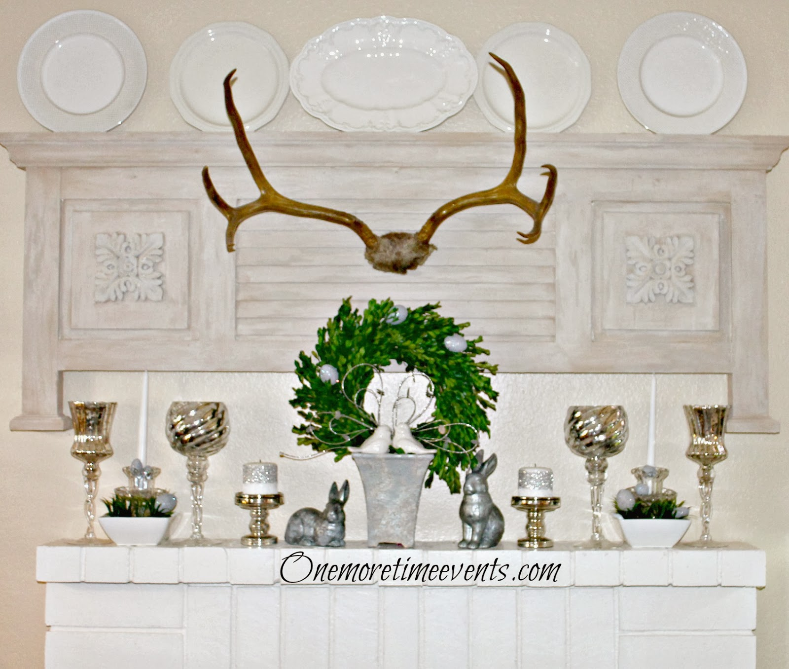 Spring Mantel and Fireplace at One More Time Events.com
