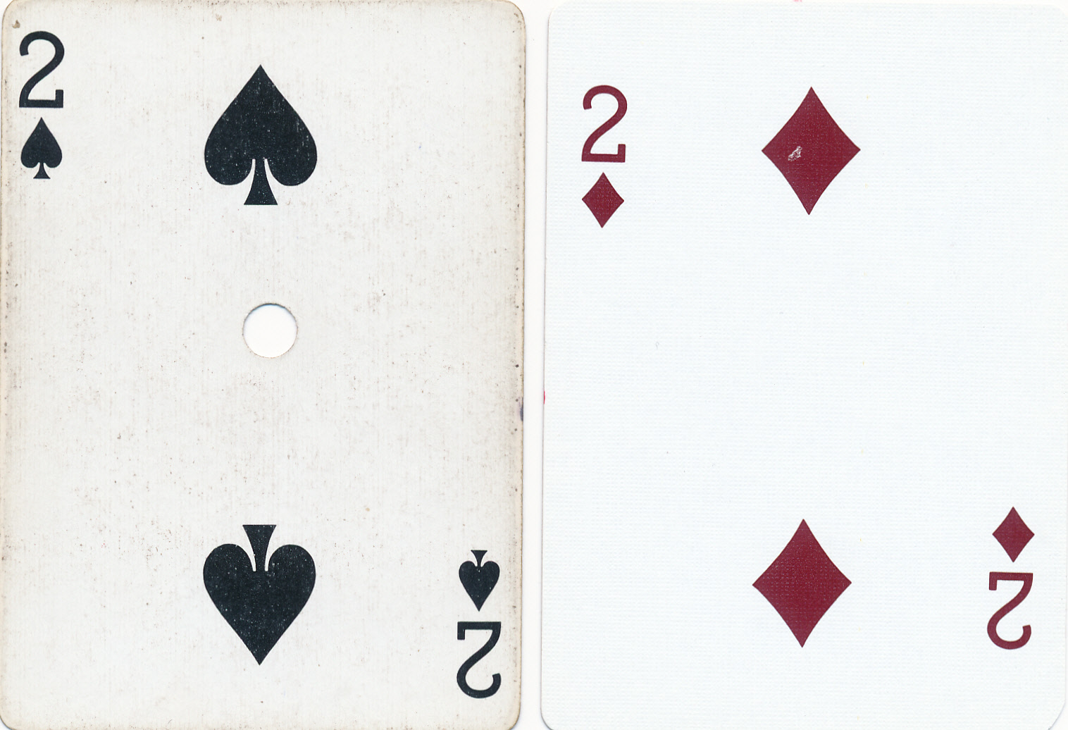 Notice the slightly recessed numbers on the right side casino card