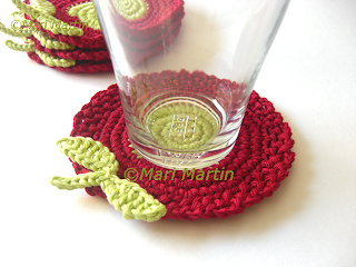 Crochet Coasters Red and Green Light Flowers