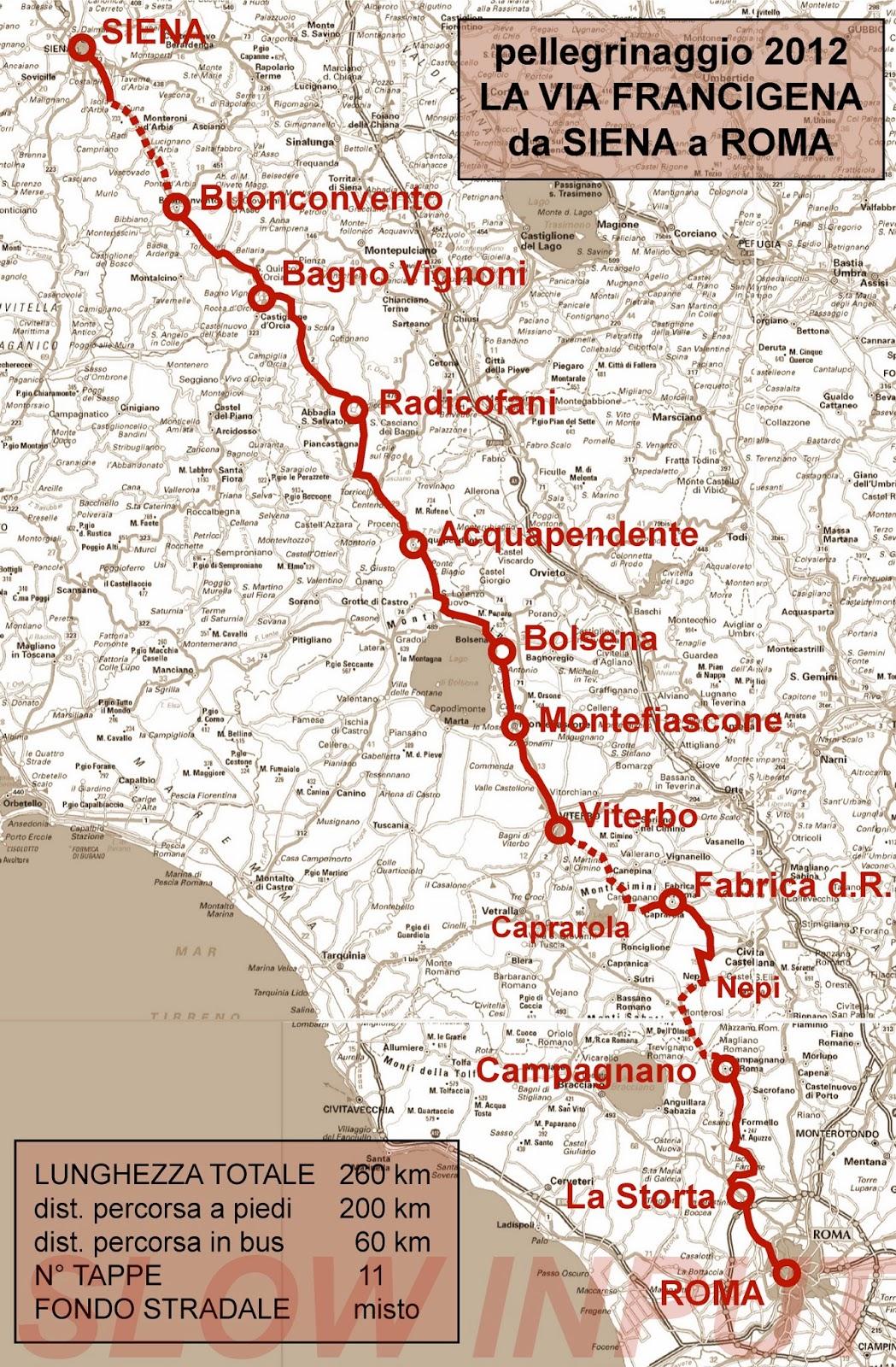 Slow input pellegrinaggio 2012 la via francigena da siena a roma - Distanza da siena a bagno vignoni ...