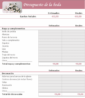 Presupuesto de boda, Excel