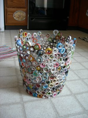 How to recycle recycled waste paper basket - Recycled can art projects ...
