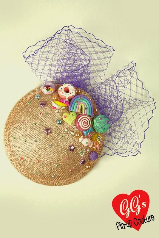 kitsch, kawaii, fascinator, peach, pink, vintage, retro, cute, hat
