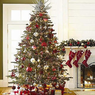 Decorated photo of Christmas Trees and Xmas stockings for Desktop Wallpaper