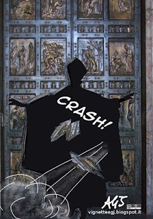 Papa Francesco, porta santa, giubileo, vignetta, satira