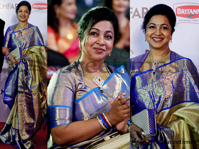 Radhika saratkumar was spotted at the filmfare awards south wearing a