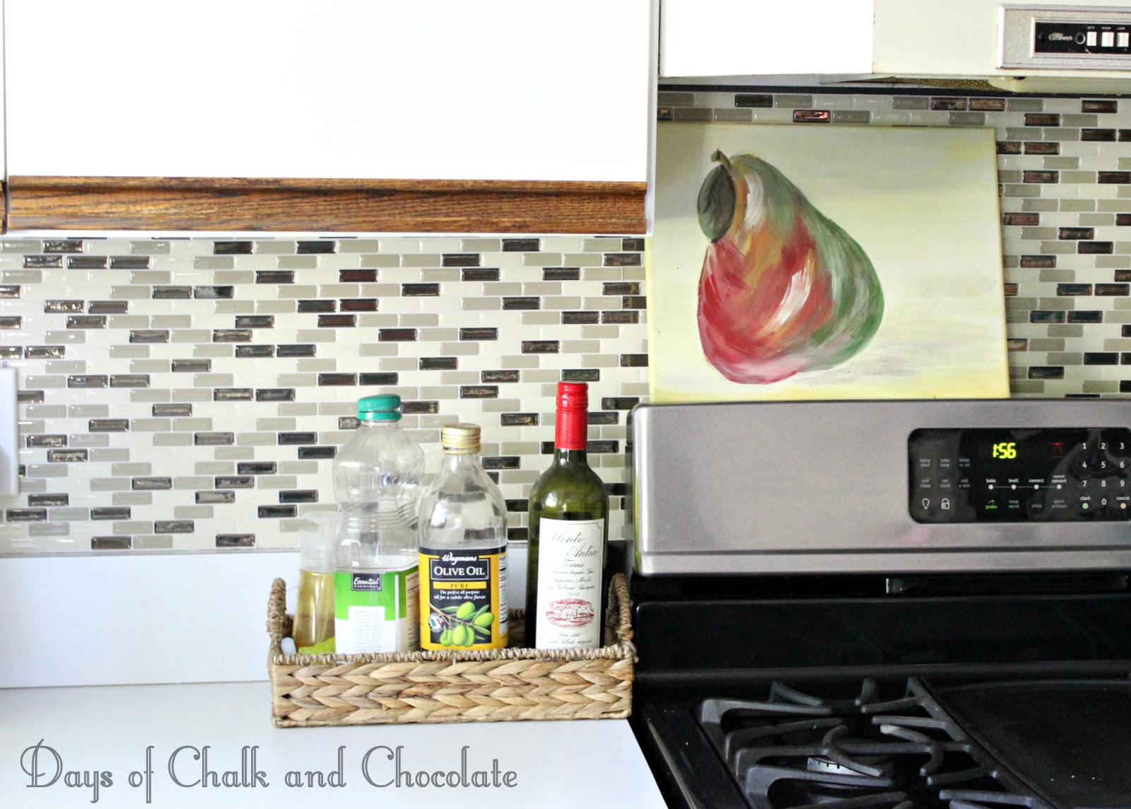 easy diy self adhesive faux tile backsplash days of chalk and days of chalk and chocolate