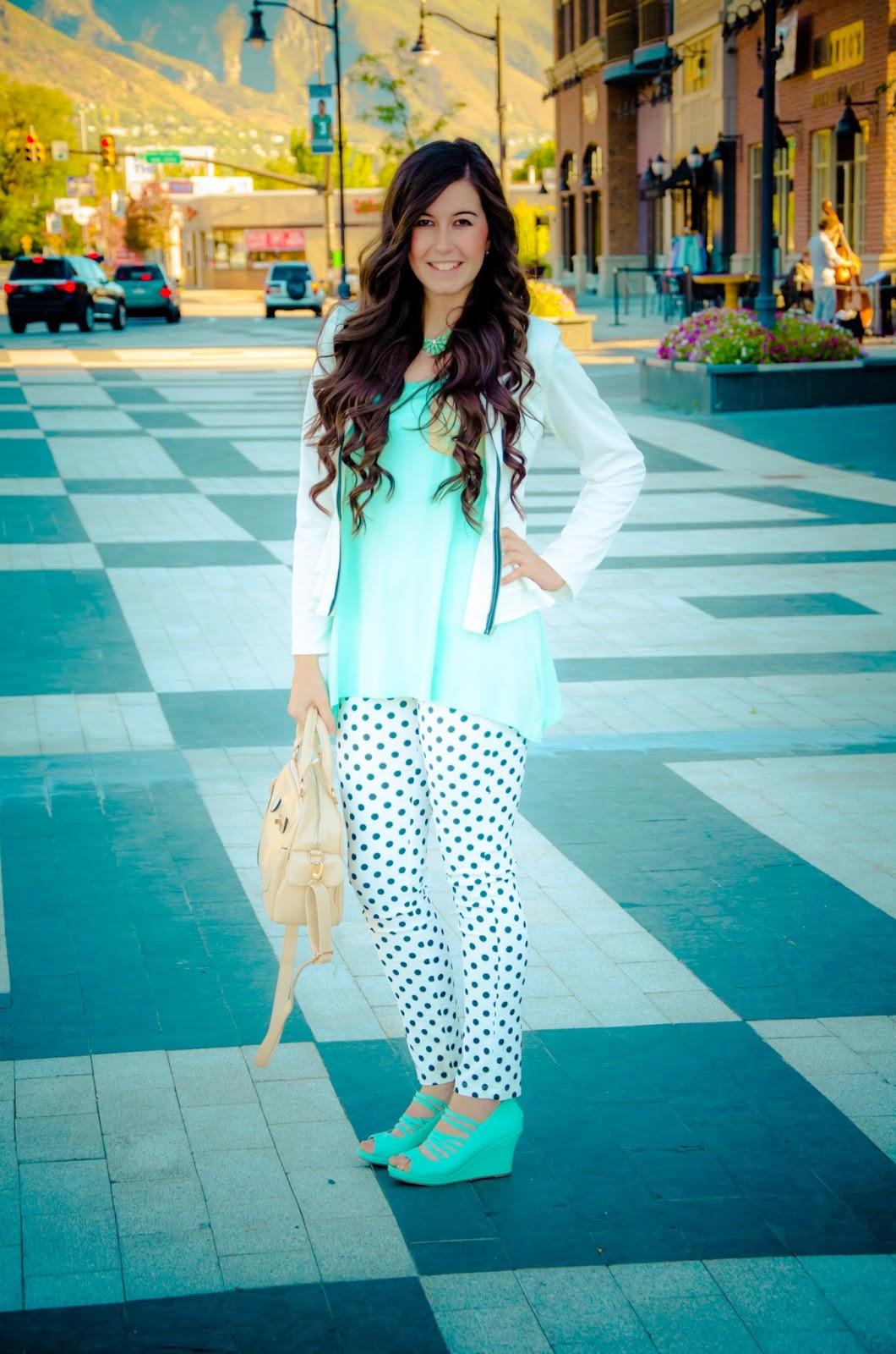 polka dot pants, peplum jacket, mint peplum top, mint flowy top, flowy attire, pink blush clothing, pinkblush, blackfive peplum jacket, pretty, cute, from day to night outfit, summer attire, fall outfit,