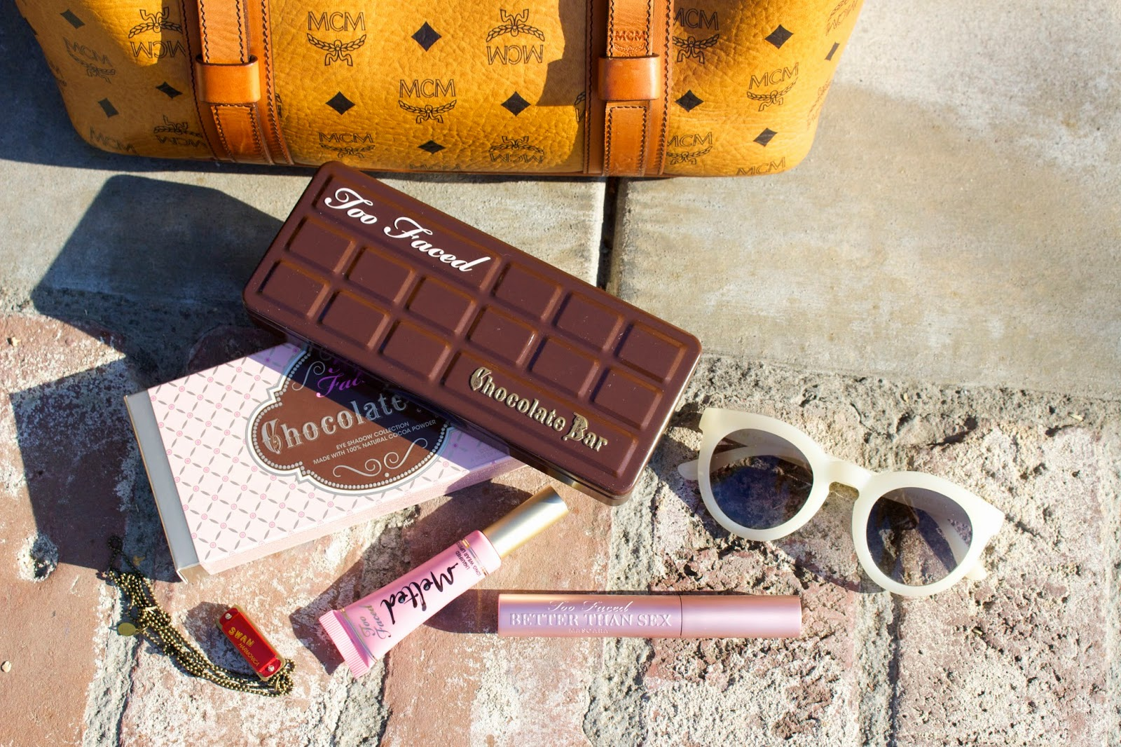 matching separates, mcm bag, too faced chocolate bar, topshop moto stripe, what i wore
