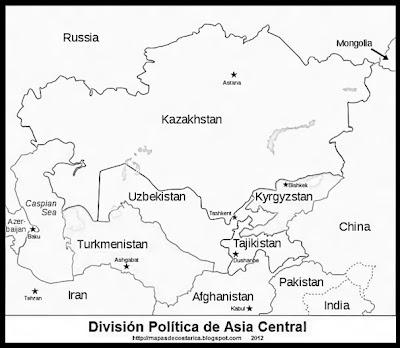 Division Politica de Asia Central, blanco y negro