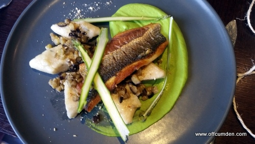 pan fried grey mullet with gnocchi, pea purée