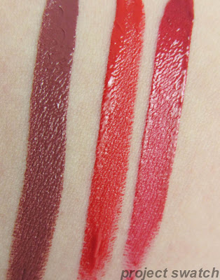 Wet n Wild High Pitched Wine, Red My Mind, Cherry On Top Swatches
