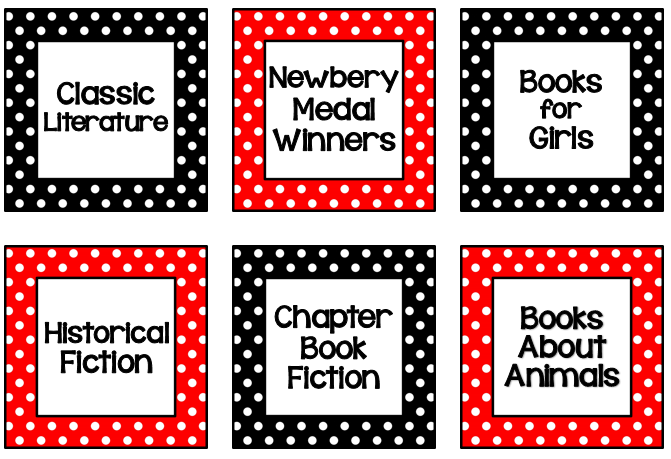 http://www.teacherspayteachers.com/Product/Red-Black-White-Polka-Dot-Classroom-Library-Labels-Request-from-Pamela-S-1351429