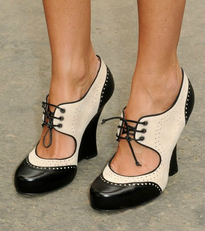vintage style black and white saddle shoes