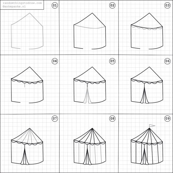 how to draw a big tent
