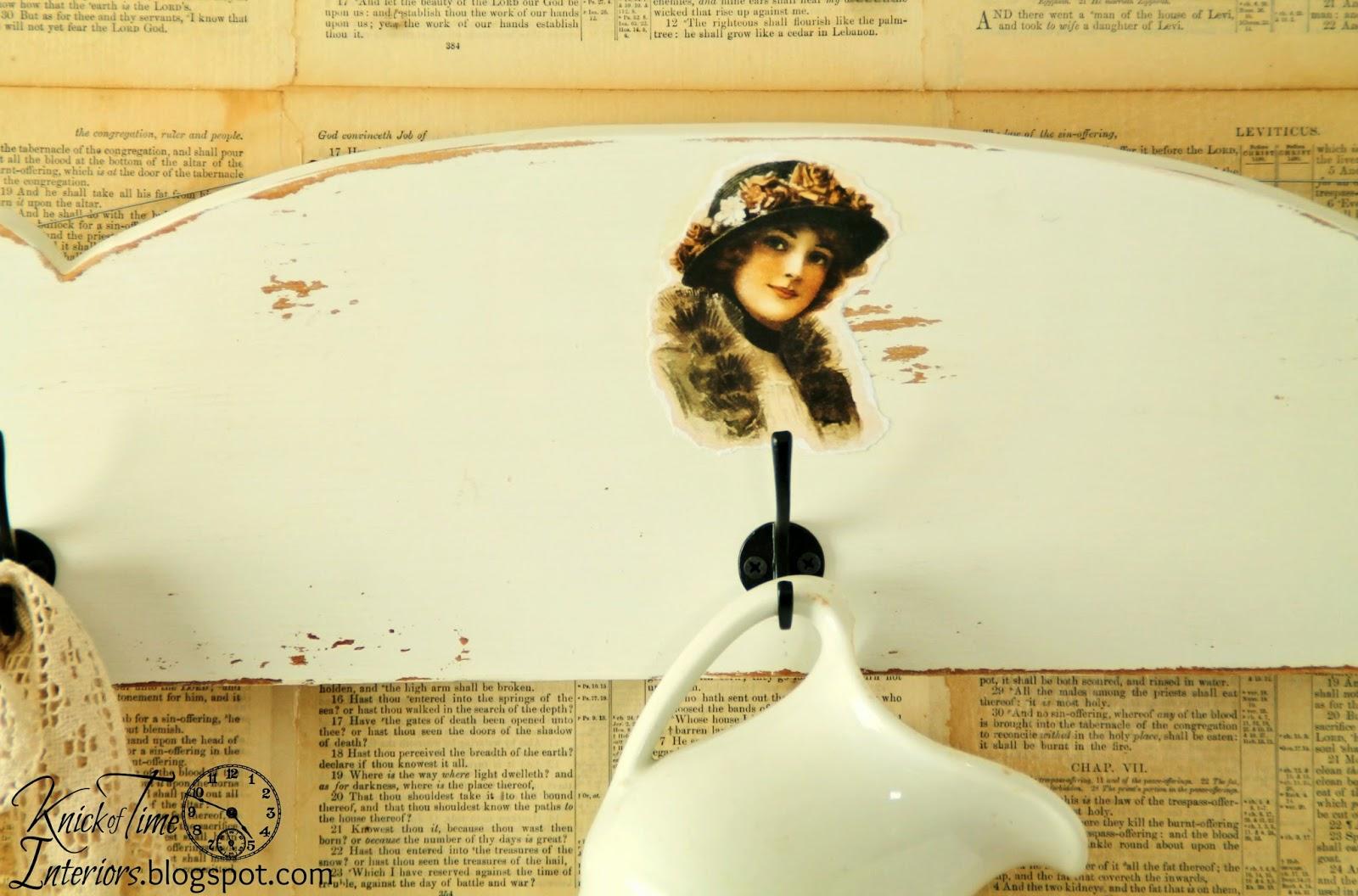 Repurposed Headboard Coat Rack & 4 Instant Art Prints ...