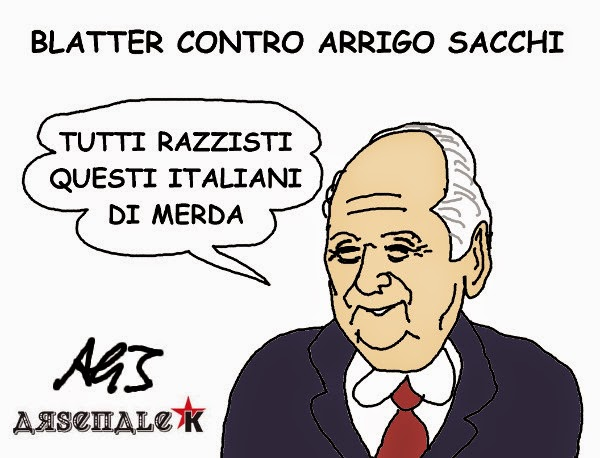 Blatter. Sacchi, razzismo, umorismo, vignetta