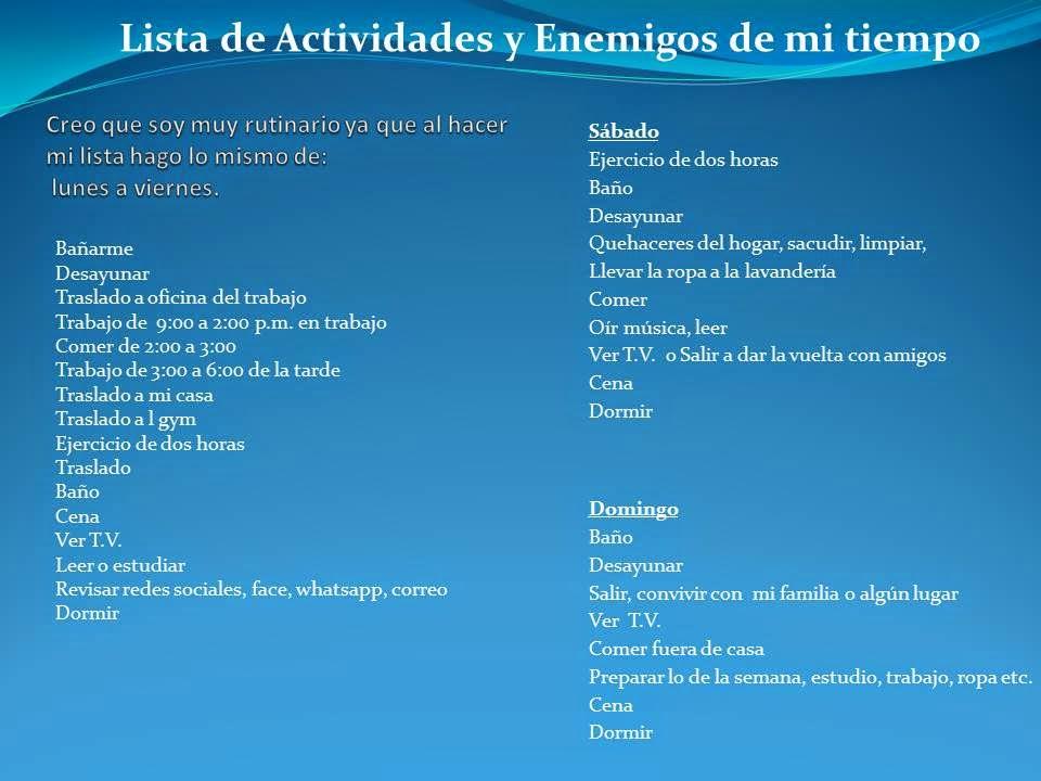 Universidad: Lista de Actividades, Enemigos de mi tiempo y Horario ...