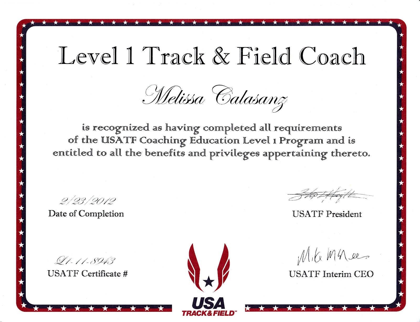 Disciplined indulgence my usa track and field level 1 coach my usa track and field level 1 coach certification experience 1betcityfo Image collections