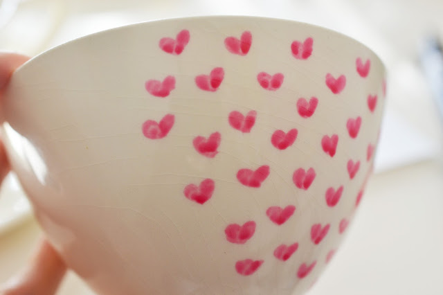 Heart Of Gold Heart Painted Ceramic Tea Cups