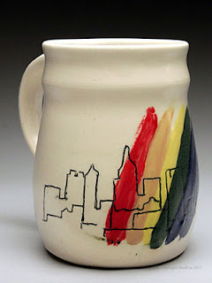 Stein of Rainbow and City Skyline