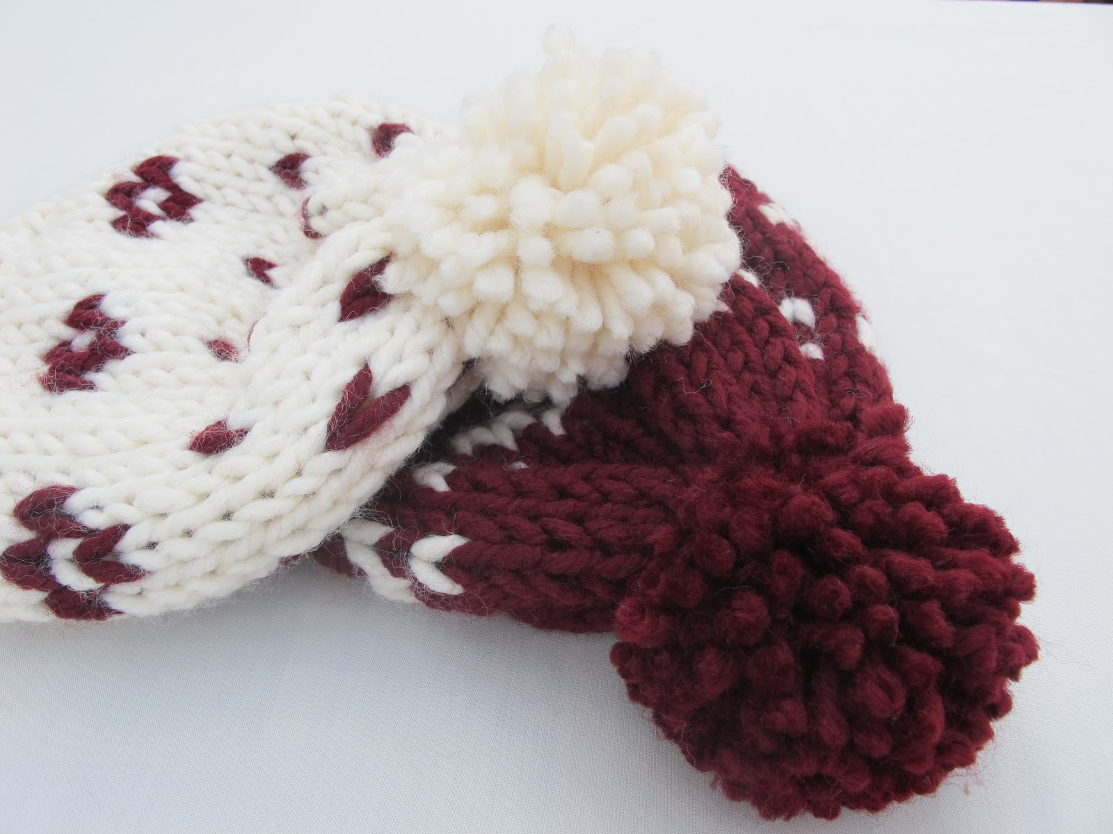DIY gorros de lana dos agujas