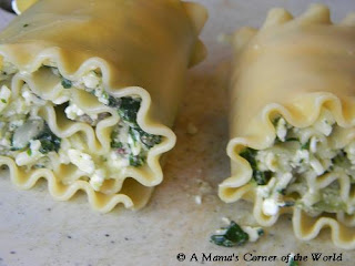 Spinach Lasagna Roll-ups before baking