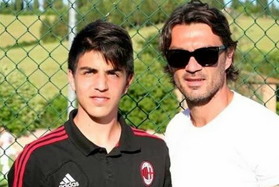 Christian Maldini is pictured with his father and AC Milan legend Paolo Maldini