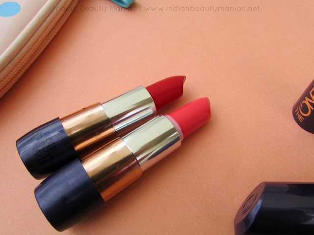 Oriflame The One 5 in 1 Color Stylist Lipstick in Sweet Tangerine and London Red, Oriflame The One lipsticks, Sweet Tangerine, London Red, Review, Swatches, Indian Beauty Maniac, Indian Beauty Blogger, Indian Makeup Blogger