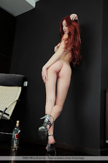 "Marga E. - ""LoveSpirit"" by Femjoy 13 (AKA Micca, Michelle H, Naomi) sexy redhead nude in high heels standing on one leg"