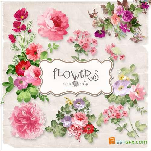 تجميعة رائعة من سكرابز الزهور Scrap-kit