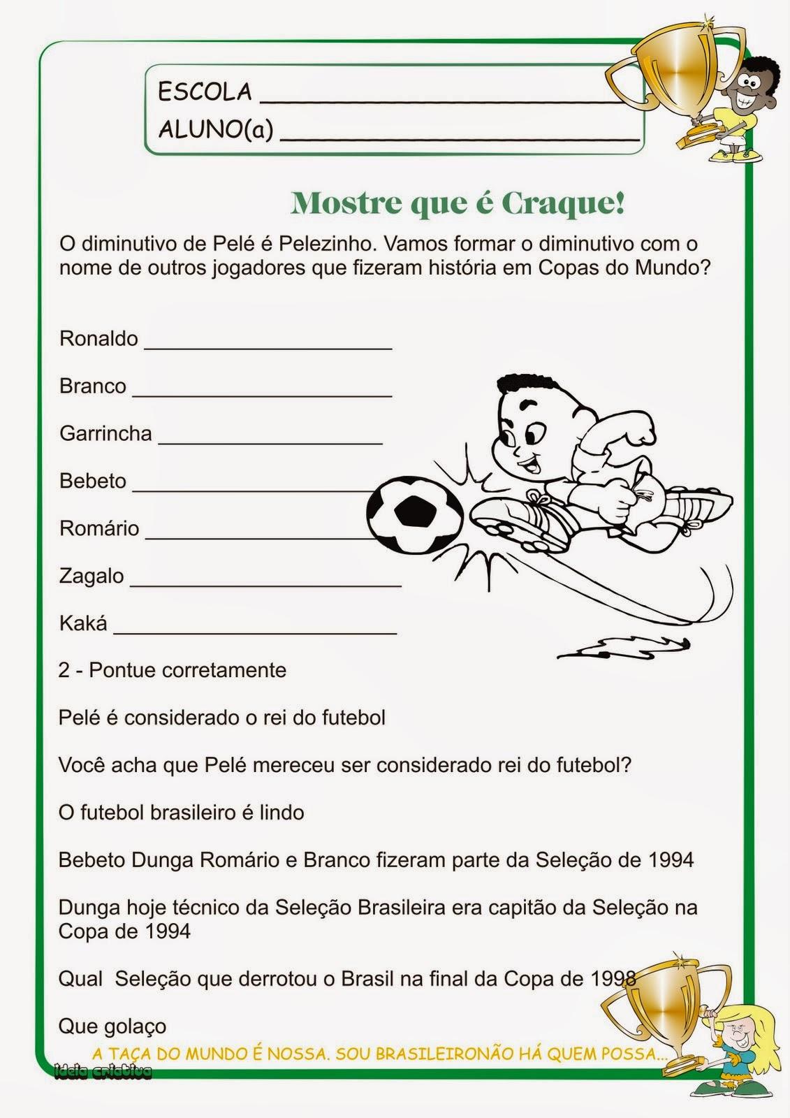 Atividades Copa do Mundo 2014 5° Ano