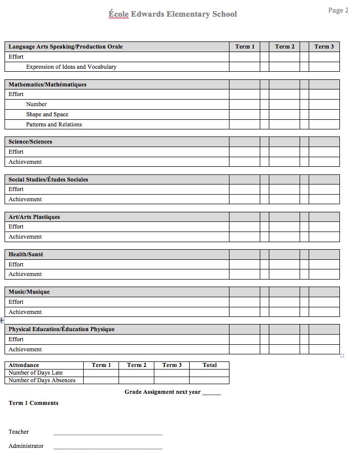school report card template – Progress Report Card Template
