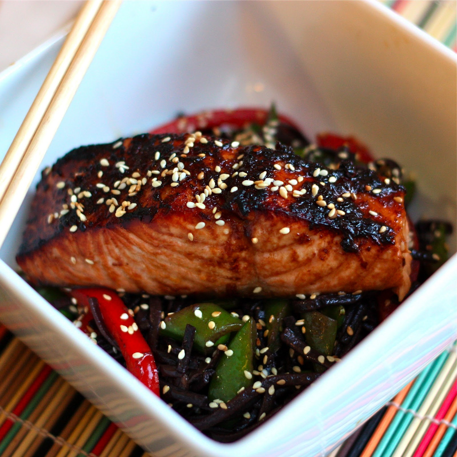 Honey soy salmon with black rice sesame noodles get off your honey soy salmon with black rice sesame noodles ccuart Gallery